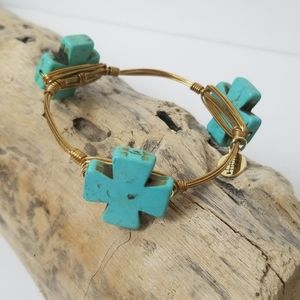 Bourbon and Boweties Turquoise Cross Gold Bracelet